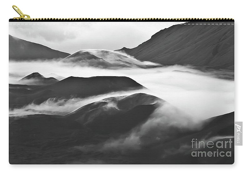 Mountains Carry-all Pouch featuring the photograph Maui Hawaii Haleakala National Park Clouds In Haleakala Crater by Jim Cazel