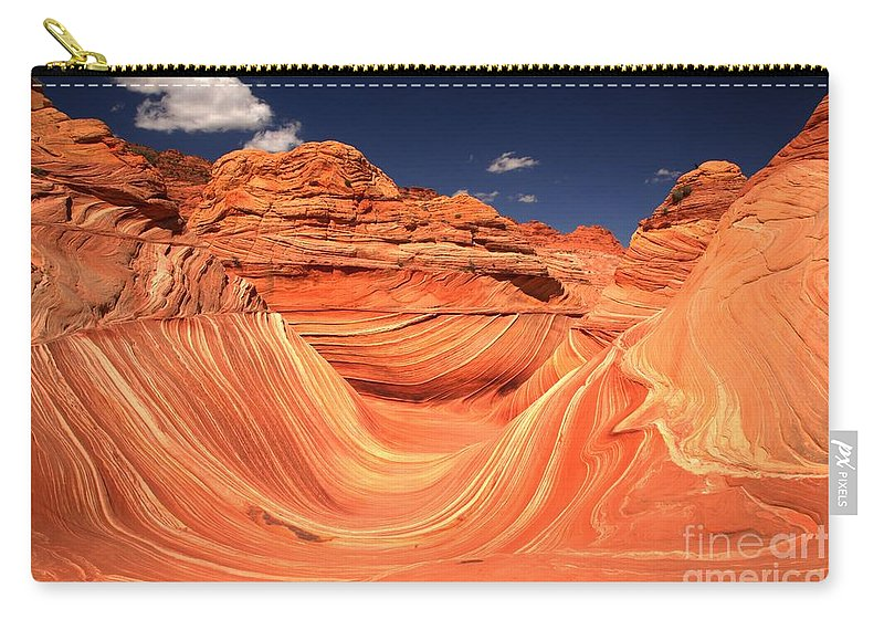The Wave Carry-all Pouch featuring the photograph Clouds Kissing The Wave by Adam Jewell