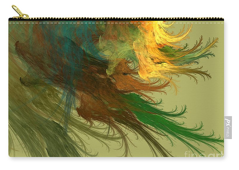 Digital Carry-all Pouch featuring the mixed media Clouds Of Color by Deborah Benoit