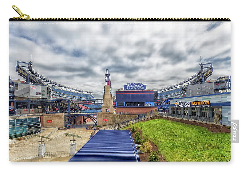 Clouds Over Gillette Stadium Carry-all Pouch featuring the photograph Clouds Over Gillette Stadium by Brian MacLean
