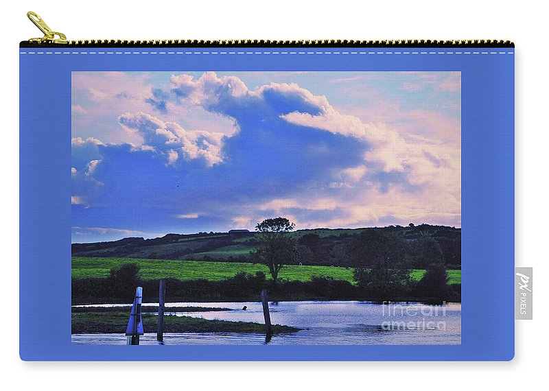 Cloud Art Irish Art Water River Shannon Landscape Trees Green Tranquil Outdoors Travel Serenity Nature Green Fields Beauty Wood Print Metal Frame Canvas Print Available On Greeting Cards Phone Cases Shower Curtains Pouches Tote Bags T Shirts And Mugs Carry-all Pouch featuring the photograph Clouds Over The Shannon, Ireland by Marcus Dagan