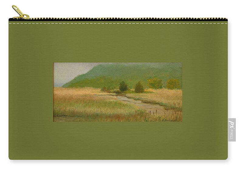 Oil Landscape Carry-all Pouch featuring the painting Cloudy Day At Iona Marsh by Phyllis Tarlow