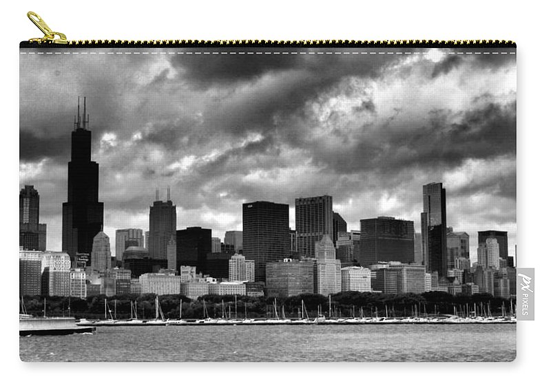 Chicago Skyline Carry-all Pouch featuring the photograph Cloudy Day Chicago - 2 by Ely Arsha