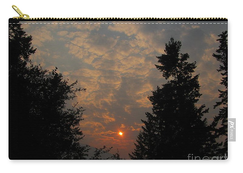 Sunset Carry-all Pouch featuring the photograph Cloudy Sunset by Leone Lund