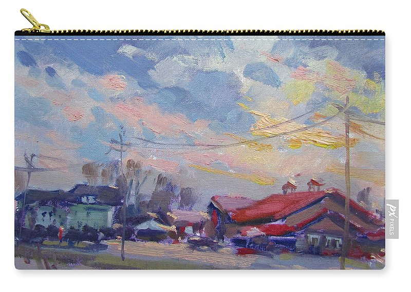 Cloudy Sunset Carry-all Pouch featuring the painting Cloudy Sunset by Ylli Haruni