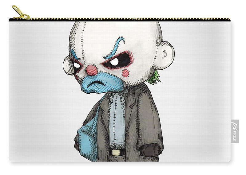 Bank Carry-all Pouch featuring the drawing Clown Bank Robber Plush by Ludwig Van Bacon