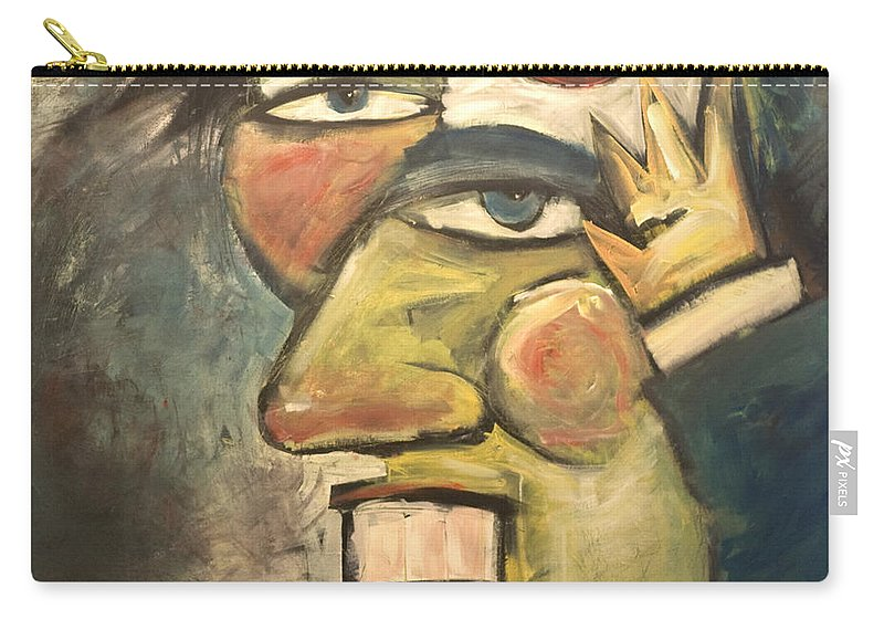 Clown Carry-all Pouch featuring the painting Clown Painting by Tim Nyberg