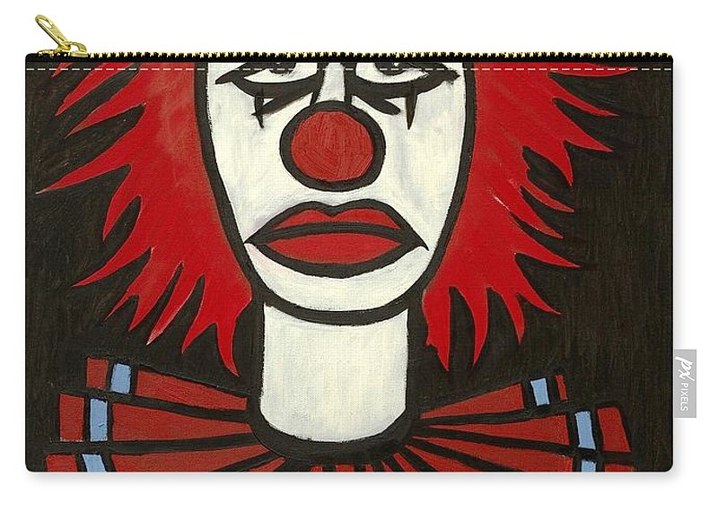 Clay Carry-all Pouch featuring the painting Clown by Thomas Valentine