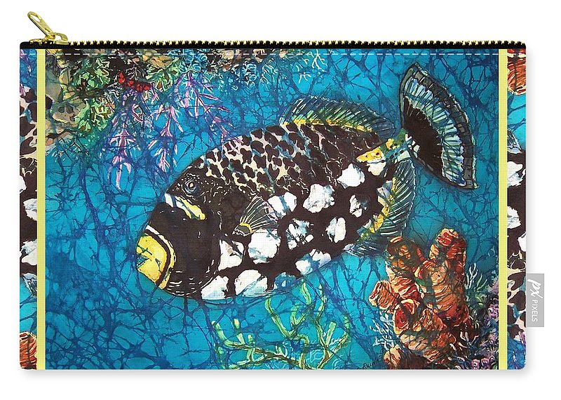 Batik Carry-all Pouch featuring the painting Clown Triggerfish-bordered by Sue Duda