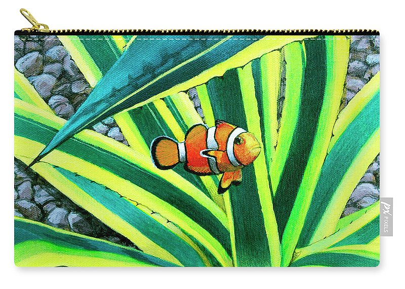 Fish Carry-all Pouch featuring the painting Clownfish by Snake Jagger