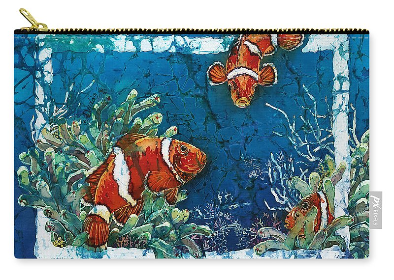 Ocean Carry-all Pouch featuring the painting Clowning Around - Clownfish by Sue Duda