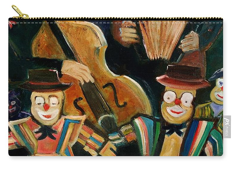 Clowns Circus Carry-all Pouch featuring the print Clowns by Pol Ledent