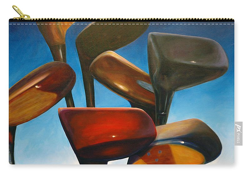 Golf Clubs Brown Carry-all Pouch featuring the painting Clubs Rising by Shannon Grissom