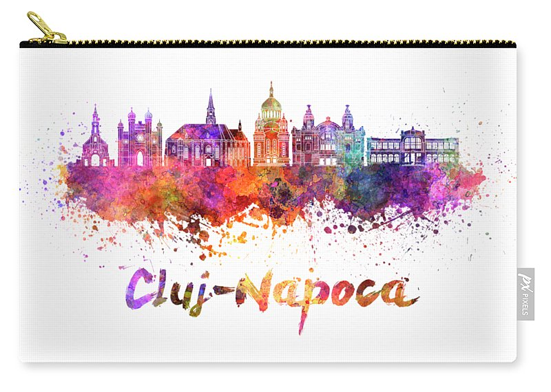 Cluj-napoca; Cluj-napoca Skyline; Romania; Watercolor; Background; Abstract; Color; Splash; Colorful; Art; Texture; Grunge; Illustration; Bright; Splatter; Creativity; Architecture; Cityscape; Landmark; Monuments; Panoramic; Skyline; Clipping Path Carry-all Pouch featuring the painting Cluj-napoca Skyline In Watercolor Splatter by Pablo Romero