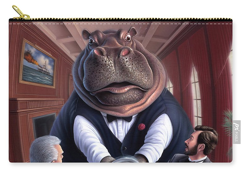 Hippo Carry-all Pouch featuring the painting Clumsy by Jerry LoFaro