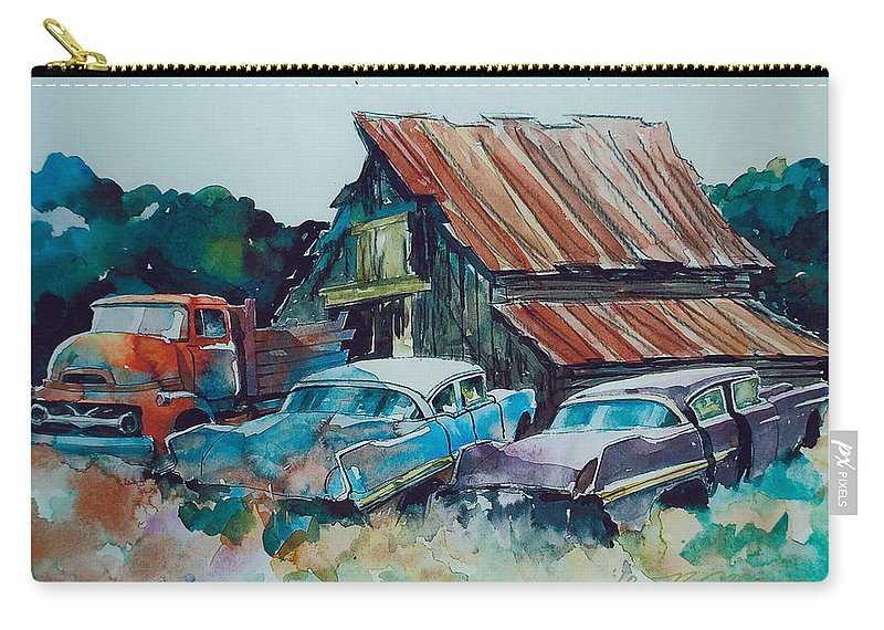 Ford Cabover Carry-all Pouch featuring the painting Cluster of Restorables by Ron Morrison