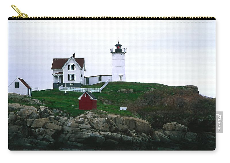 Landscape Lighthouse Nautical New England Nubble Light Cape Neddick Carry-all Pouch featuring the photograph Cnrf0502 by Henry Butz