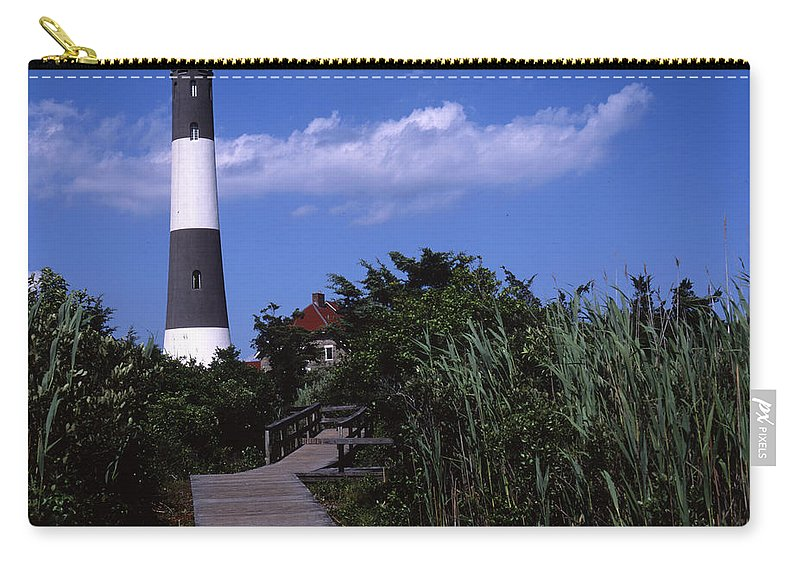 Landscape Lighthouse Fire Island Carry-all Pouch featuring the photograph Cnrf0702 by Henry Butz