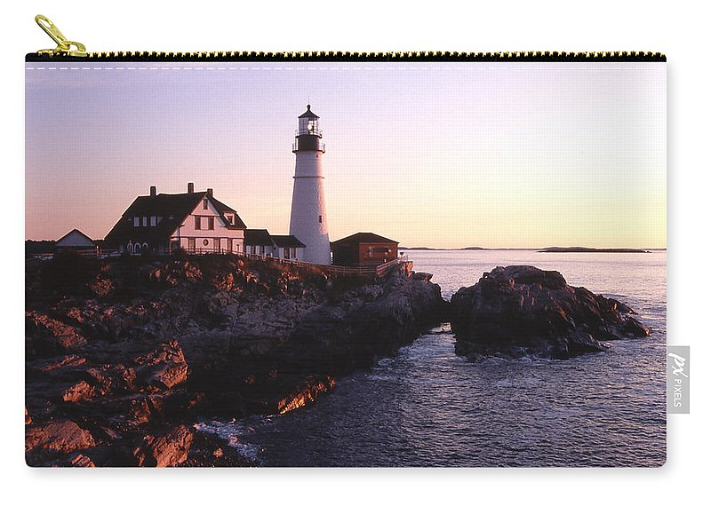 Landscape Lighthouse Nautical New England Portland Head Light Cape Elizabeth Carry-all Pouch featuring the photograph Cnrf0904 by Henry Butz