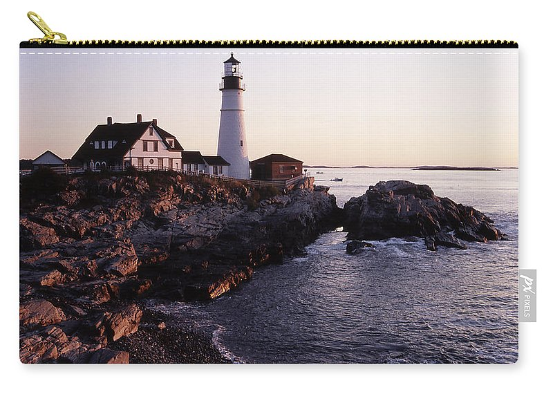 Landscape Lighthouse Nautical New England Portland Head Light Cape Elizabeth Carry-all Pouch featuring the photograph Cnrf0905 by Henry Butz