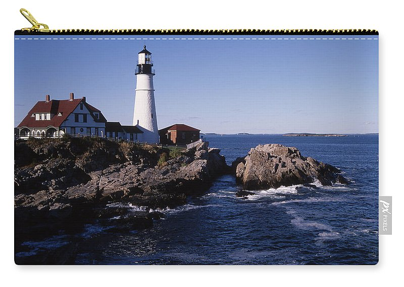Landscape New England Lighthouse Nautical Coast Carry-all Pouch featuring the photograph Cnrf0910 by Henry Butz