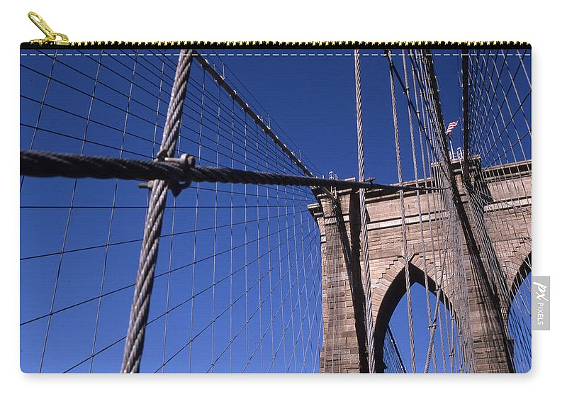 Landscape Brooklyn Bridge New York City Carry-all Pouch featuring the photograph Cnrg0405 by Henry Butz