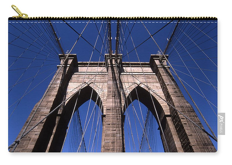 Landscape Brooklyn Bridge New York City Carry-all Pouch featuring the photograph Cnrg0409 by Henry Butz