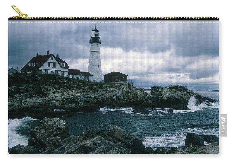 Landscape New England Lighthouse Nautical Storm Coast Carry-all Pouch featuring the photograph Cnrg0601 by Henry Butz