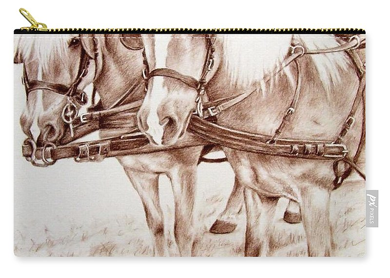 Horses Carry-all Pouch featuring the drawing Coach Horses by Nicole Zeug