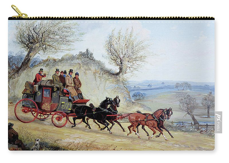 Coaching Oil Of A Royal Mail Coach Crossing Landscape Passing Seated Man With His Dog By Samuel Henry Alken Carry-all Pouch featuring the painting Coaching Oil Of A Royal Mail Coach Crossing Landscape by MotionAge Designs
