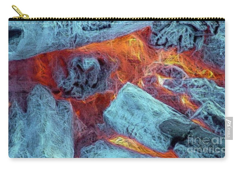 Fire Art Carry-all Pouch featuring the digital art Coals And Embers by Ron Bissett