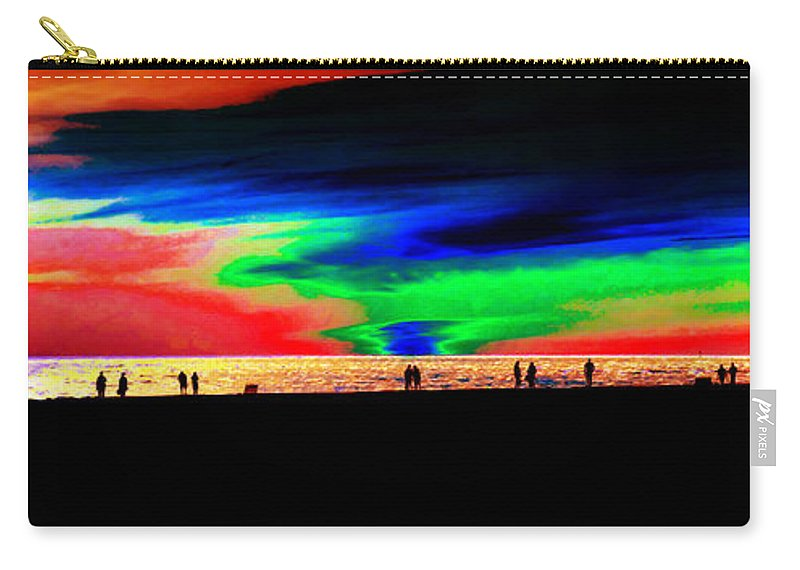 Panoramic Artwork Carry-all Pouch featuring the painting Coast People by David Lee Thompson