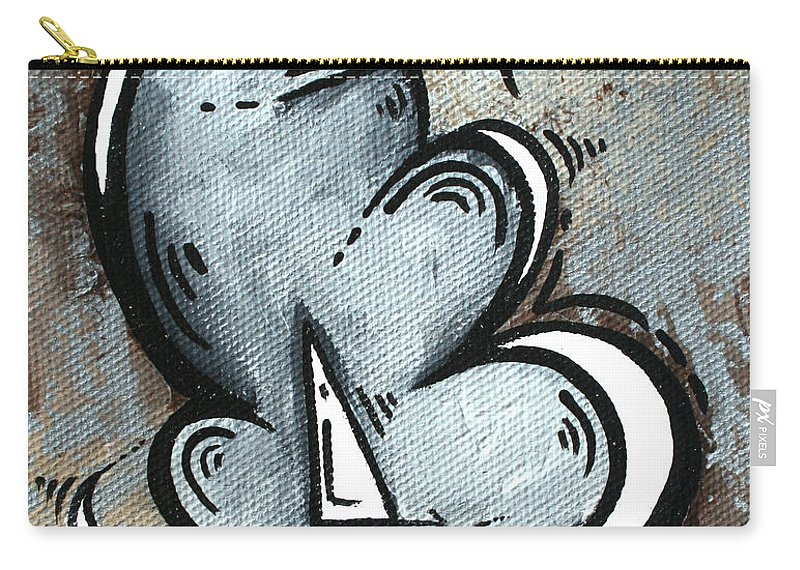 Coastal Carry-all Pouch featuring the painting Coastal Art Contemporary Sailboat Painting Whimsical Design Silver Sea II By Madart by Megan Duncanson