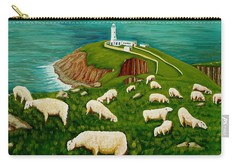 Sheep Carry-all Pouch featuring the painting Coastal Dining by Anthony Dunphy