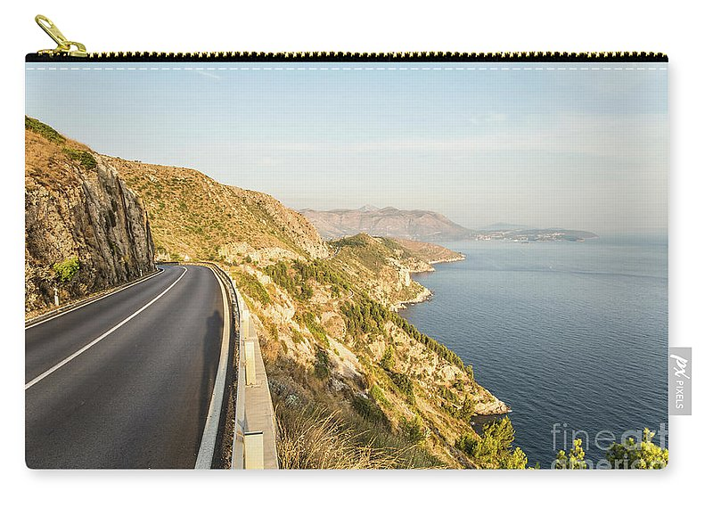 Coastline Carry-all Pouch featuring the photograph Coastal Road Near Dubrovnik In Croatia by Didier Marti