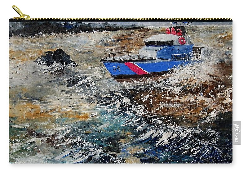 Sea Carry-all Pouch featuring the painting Coastguards by Pol Ledent