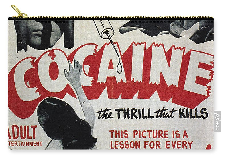 1940s Carry-all Pouch featuring the photograph Cocaine Movie Poster, 1940s by Granger