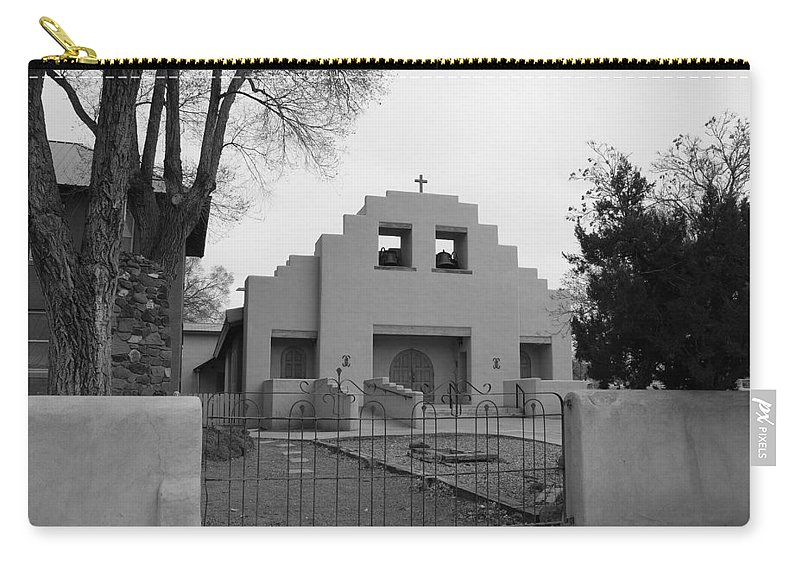 Architecture Carry-all Pouch featuring the photograph Cochiti Church by Rob Hans