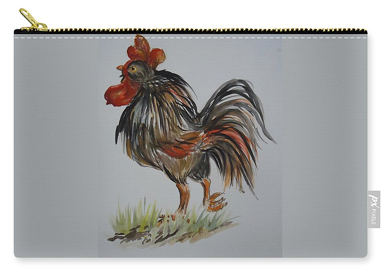 Rooster With And Attitude. Rooster Carry-all Pouch featuring the painting Cock-a-doodle-do by Charme Curtin