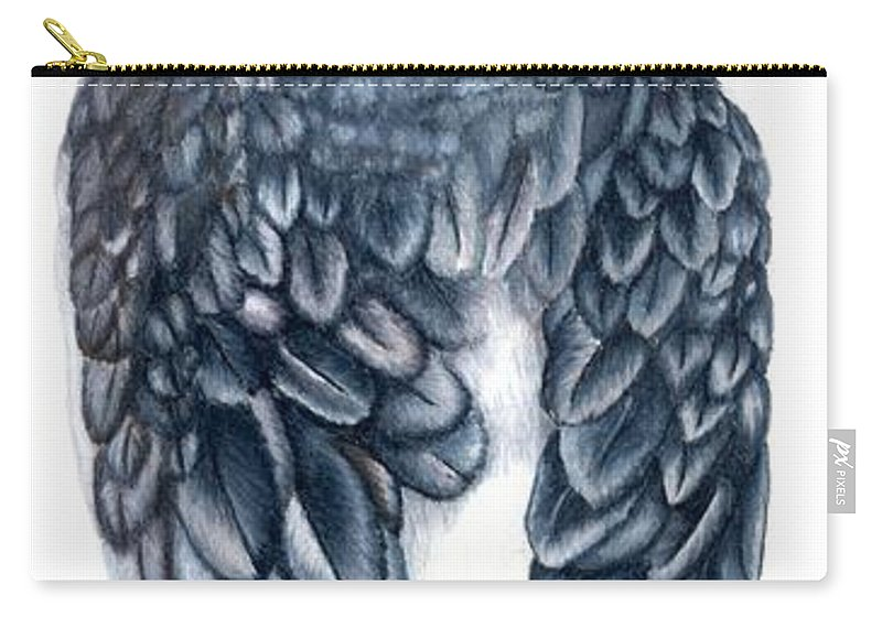 Cockatiel Carry-all Pouch featuring the drawing Cockatiel 1 by Kristen Wesch