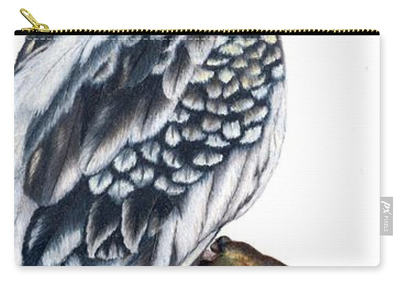 Cockatiel Carry-all Pouch featuring the drawing Cockatiel 2 by Kristen Wesch