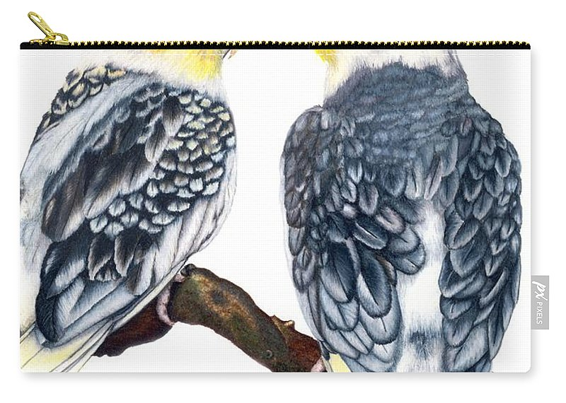 Cockatiel Carry-all Pouch featuring the drawing Cockatiels by Kristen Wesch
