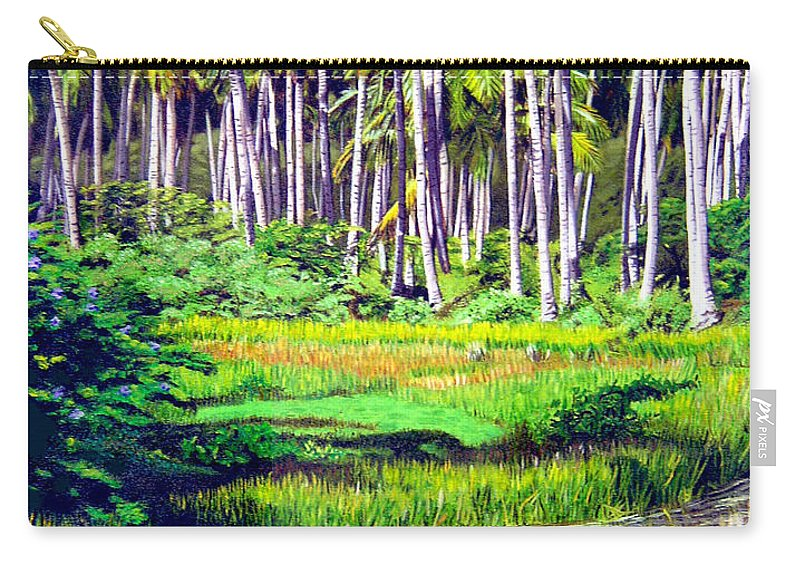 Coconuts Water River Green Art Tropical Carry-all Pouch featuring the painting Coconuts Trees by Jose Manuel Abraham