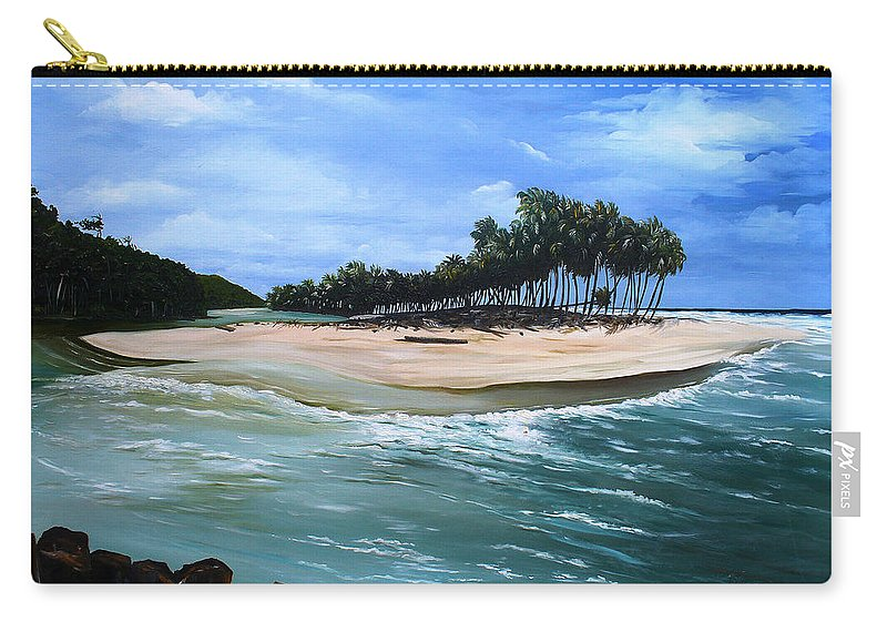 Ocean Paintings Sea Scape Paintings  Beach Paintings Palm Trees Paintings Water Paintings River Paintings  Caribbean Paintings  Tropical Paintings Trinidad And Tobago Paintings Beach Paintings Carry-all Pouch featuring the painting Cocos Bay Trinidad by Karin Dawn Kelshall- Best