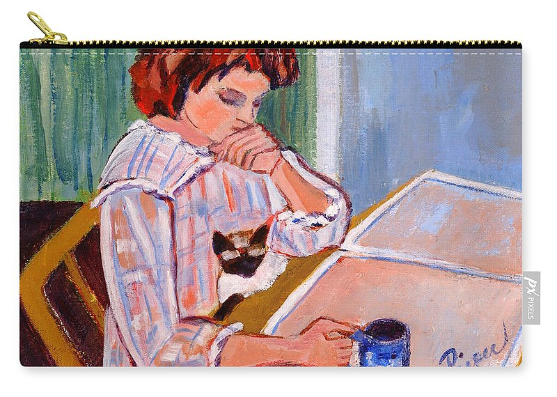 Reading The Newspaper Carry-all Pouch featuring the painting Coffee And Cat by Betty Pieper