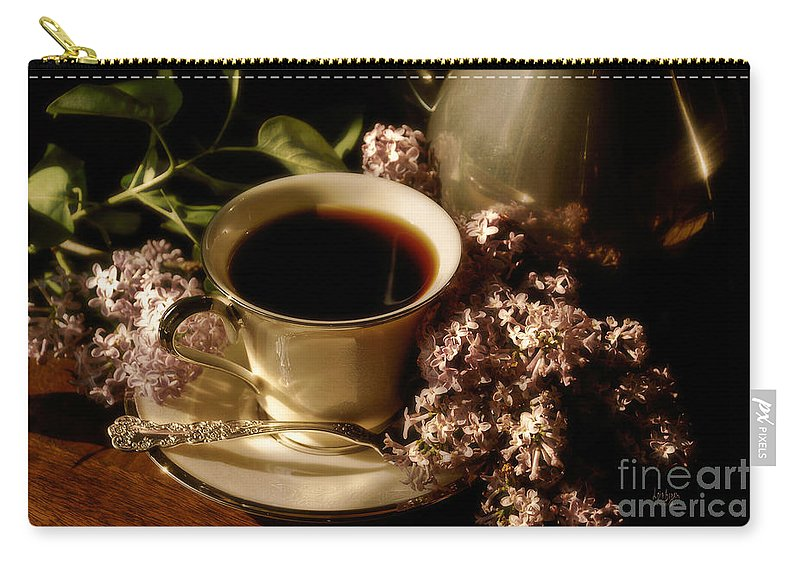 Coffee Carry-all Pouch featuring the photograph Coffee And Lilacs In The Morning by Lois Bryan