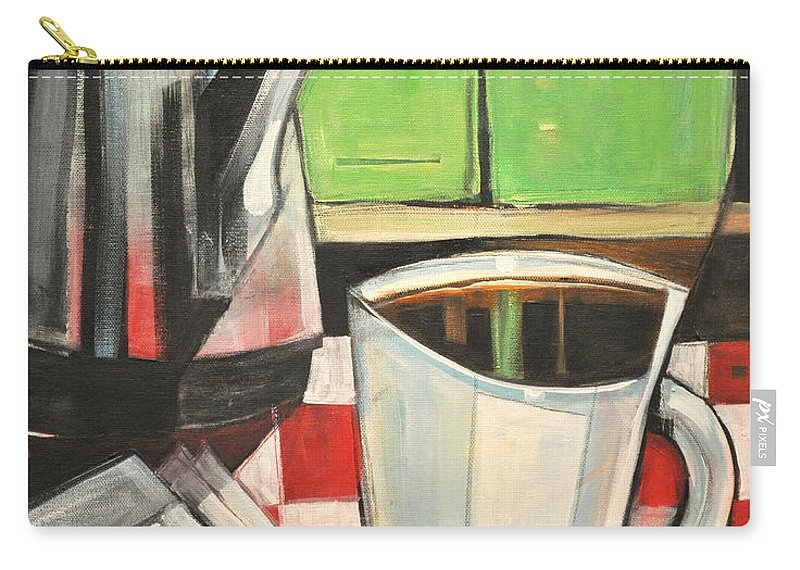 Coffee Carry-all Pouch featuring the painting Coffee And Morning News by Tim Nyberg