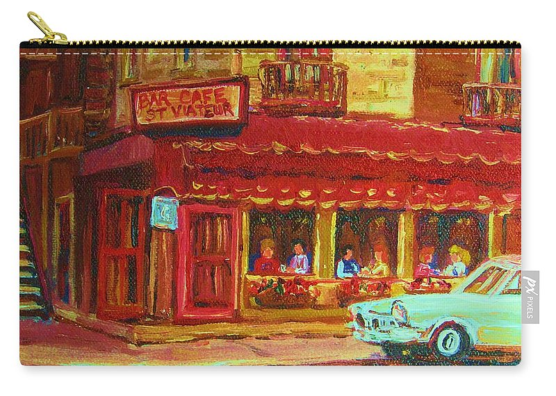 St Carry-all Pouch featuring the painting Coffee Bar On The Corner by Carole Spandau