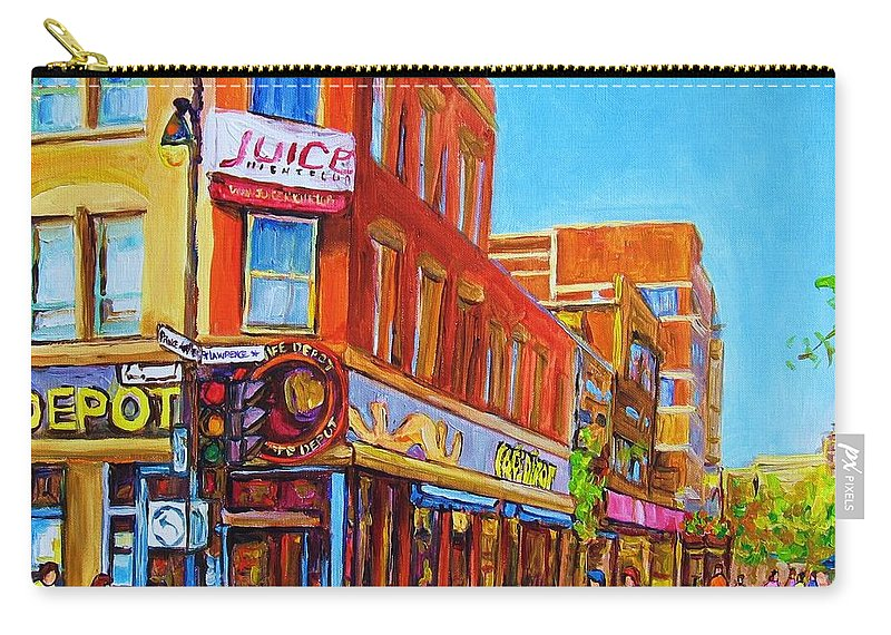 Cityscape Carry-all Pouch featuring the painting Coffee Depot Cafe And Terrace by Carole Spandau