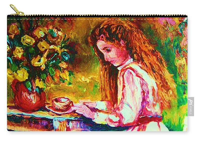Impressionism Carry-all Pouch featuring the painting Coffee In The Garden by Carole Spandau